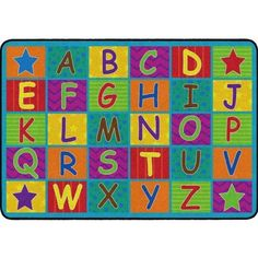"""""""Happy students are attentive students. The Cheerful Alphabet School Rug will help start their days with smiles. This carpet shows off the in bright happy colors and fun patterns. Alphabet School, Cute Alphabet, Classroom Carpets, Kids Play Area, Carpet Stains, Happy Colors, Online Home Decor Stores, Free Coloring, Cool Patterns"""