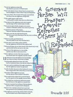 Proverbs 11:25 Bible Journaling For Beginners, Bible Study Journal, Scripture Study, Bible Art, Bible Cartoon, Farmhouse Books, Proverbs 11, Bible Mapping, Bible Doodling