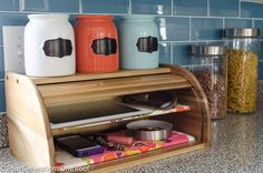 """How to add a shelf to a bread box """"DIY cell phone + electronic charging station"""" @Four Generations One Roof"""
