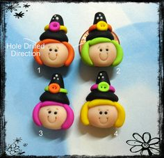 Halloween Witch Girl Polymer Clay Charm Bead di RainbowDayHappy