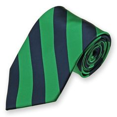 Kelly Green and Navy Blue Woven Striped Tie