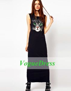 Hotsale Women Fashion Street Style Sweet And Fresh Big Cat Face Photo Printed With Green Eyes Sleeveless Vest Long Dress #326  $19.65