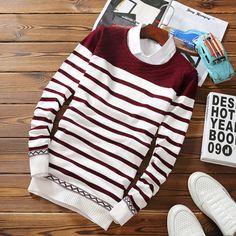 Dcost White Cotton Striped Sweater