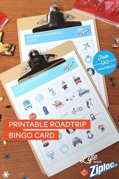 Fun road trip ideas to entertain the kids during holiday travel. Cute printable Car Bingo cards!