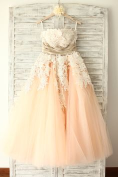 Elegant Pearl Pink Tulle Prom Gown 2015