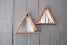 Wooden Triangle Mirror - FREE SHIPPING by HawaiiNot on Etsy https://www.etsy.com/listing/234606278/wooden-triangle-mirror-free-shipping