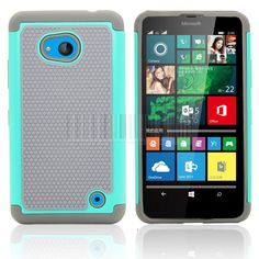 Rugged Hybrid Rubber Impact Silicone Armor Hard Dual Layer Case Cover With/Without FILMS STYLUS For Microsoft Lumia 640