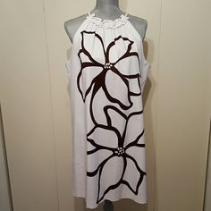 NWOT -  Signature Sundress Beautiful brown floral design, comes to knees, I'm 5'5.  detailed neck, straps on shoulder, sleeveless, Size 16 women, Never worn, Superb condition. Pet and smoke free. Pls see pics. Thank you! Signature London Style Dresses Midi