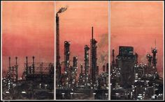 Crying Landscape: Refinery 会叫的风景 YANG JIECHANG Crying Landscape: Refinery 会叫的风景, 2002  one from a set of five triptychs; ink and color on paper 118 1/10 × 196 9/10 in 300 × 500 cm Photo: courtesy of The Metropolitan Museum of Art Ink Art: Past as Present in Contemporary China, The Metropolitan Museum of Art, New York