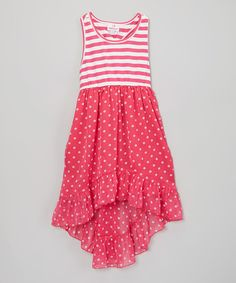 Another great find on #zulily! Pink Stripe & Polka Dot Chiffon Dress -Toddler & Girls by Dollhouse #zulilyfinds