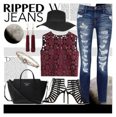 """""""ripped jeans"""" by julietacelina ❤ liked on Polyvore featuring nanimarquina, Current/Elliott, Alberta Ferretti, Balmain, Gianvito Rossi, Gucci, Topshop and Eddie Borgo"""