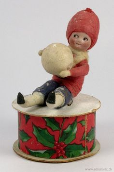 Spun Cotton child with snowball...delightful!