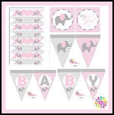 Baby ElephantPrintable Party Set DIY DigitalParty by IdeasGlint Baby Girl Elephant, Elephant Party, Elephant Theme, Elephant Baby Showers, Baby Shower Cupcakes, Baby Shower Games, Baby Shower Parties, Tarjetas Baby Shower Niña, Baby Shower Invitaciones