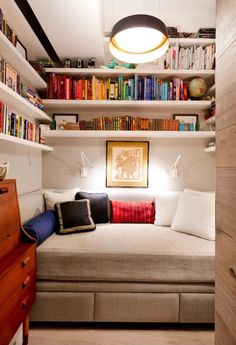 hidden daybed, bookshelves, tiny bedroom