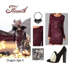 Flemeth by elocinecko on Polyvore featuring Haute Hippie, Yves Saint Laurent, LowLuv, Bakers, 2, flemeth, video game, studded, games and dragon age