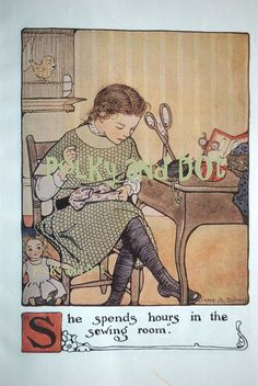 Vintage Girl sewing digital image by polkyanddot on Etsy, $3.00