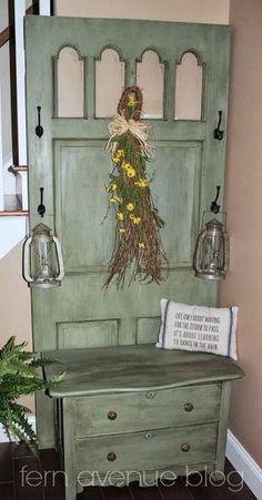 reutilizar e reciclar porta de madeira interior e exterior para mobiliário moderno em estilo vintage