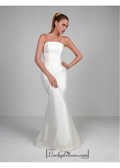 Beautiful Elegant Exquisite Taffeta Mermaid Wedding Dress In Great Handwork Sale On LuckyDresses.com With Top Quality And Discount