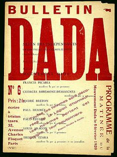 Bulletin DADA, No. 6 | Tristan Tzara, editor | Paris, 1920 | Contained a series of bewildering poems and outrageous declarations, all presented in the fragmentary typographical style that Tzara had begun experimenting with in Zurich, and it announced Dada events + programs.  This issue: Louis Villagon, Andre Breton, Francis Picabia, et al.