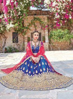 Blue Net Embroidery Work A Line Lehenga Choli 90868