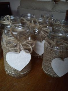 Upcycled jam jars waiting to be filled Diy Crafts For Gifts, Jar Crafts, Wedding Table Decorations, Wedding Centerpieces, Wedding Flower Arrangements, Wedding Flowers, Wedding Jars, Bridal Shower Rustic, Deco Table