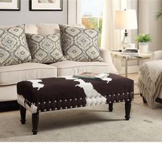 Coffee Table Bench Upholstered Living Room Rustic Cowhide Print Ottoman #Concept