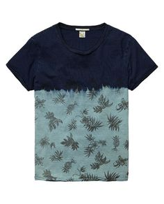 Indigo tee in tie-dye and dip-bleach treatment with placement prints | T-shirt s/s | Men Clothing at Scotch  Soda