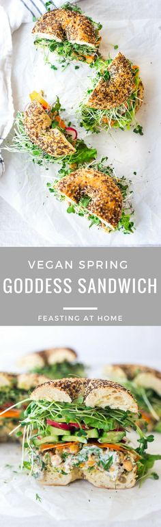 Spring goddess sandwich Spring Goddess Sandwich with herby chickpea salad, crunchy carrots & radishes, cucumber, avocado and sprouts. Vegan and Gluten-free adaptable! Veggie Recipes, Lunch Recipes, Whole Food Recipes, Vegetarian Recipes, Cooking Recipes, Healthy Recipes, Gluten Free Vegan Recipes Dinner, Vegan Sandwich Recipes, Radish Recipes