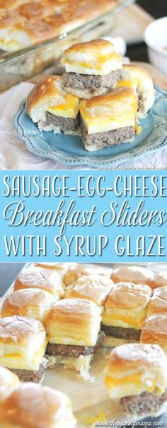 Sausage egg and cheese breakfast slider sandwiches with syrup glaze!  HOLY YUM!  We are making this for Christmas breakfast.