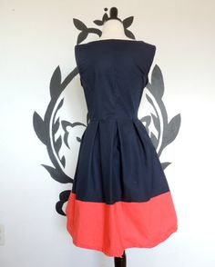 Pure Class Dress Navy Blue and Coral Classy by PassionPeach, $54.50