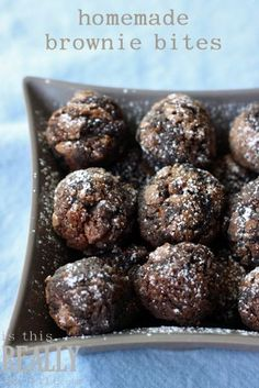 Homemade brownie bites!  My 12YO came up with this fun little recipe--great way to serve brownies! #brownies #dessert