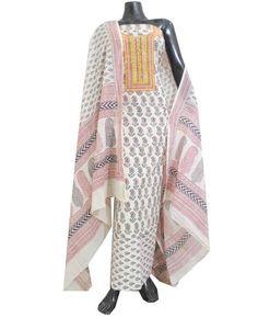 Cotton Bagh Print Salwar Suit-White&Black 2