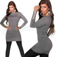 #Elegante #jersey #vestido #invierno de #mangalarga #diseño #largo y #ceñido al #cuerpo con #tejido de #punto #suave y #elastico de #excelente #calidad #destacando tu #figura con un #brillo #chic y $sexy que #aporta la #pedreria #brillante. Encuentralo en @Vestidos de #Invierno de http://www.agiltienda.com/es/home/2295-jersey-vestido-largo-y-brillante.html @online #shop @agiltienda.es