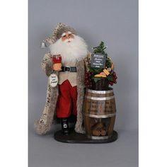 Karen Didion Christmas Lighted Wine Barrel Santa Figurine