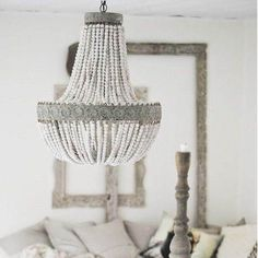 Metis - Vintage Wooden Beaded Round Chandelier