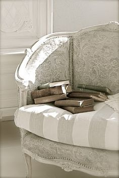 White Painted Chair with Gray Damask & Gray Wide Stripe Fabric and Nailhead Trim. at HVÍTUR LAKKRÍS