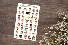 Sheet contains 40 Lainey stickers. Sheets are sized and [optional] punched to fit the Mini 3-ring Avery and Target binders.