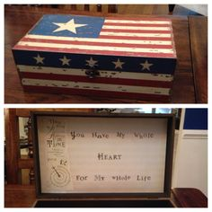 For our 1st, July 4th wedding anniversary paper gift. Found this great box and inserted scrapbook paper into the top lid. Used stickers for the quote. Also, included a poem that was read at our ceremony, on the left! Inside I put his card and a memory book that I had made over the last couple of years.