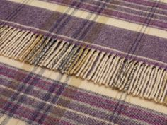 Heather Check Merino Lambswool Plum Throw
