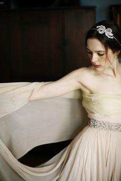 Double Comet Headband by Jennifer Behr :: Photography by Belathée :: Vintage Dress :: wedding :: headband :: bride :: crystal
