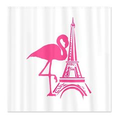 Sold today...Paris Eiffel Tower Pink Flamingo Shower Curtain from my tropical shop on @CafePress