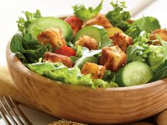 Summer Salad with Breaded Feta Cubes