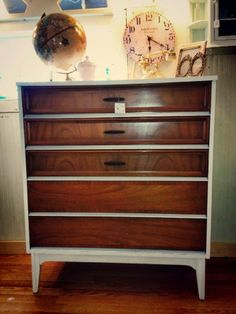 Mid Century Dresser by Dixie - Refinished in CeCe Caldwell Chalk & Clay Paint in Simply White.  by https://www.facebook.com/Laparisiennevintagechic
