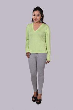 Silk/Cashmere v-neck sweater with chiffon trims.