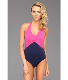 Tommy Bahama Deck Piping V-Neck Halter Cup Wrapped One Piece Pink Martini/Mare - Zappos.com Free Shipping BOTH Ways