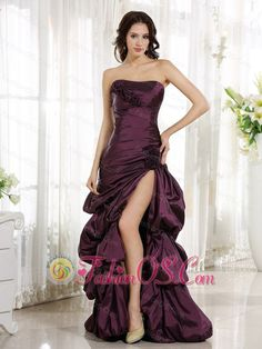 2013 High Slit Burgundy Column Evening Dress Appliques and Ruch  www.fashionos.com  This dress is so gorgeous, it would even make Cinderella jealous! The fitted, strapless bodice is adorned with shimmering beads. The chic flower embellishments beautify this stunning design. A slit of the surface taffeta at the side makes the skirt fashionable. Especially the pick ups adds more elegance to the skirt. The lace up back completes the look. You will be stunning in the dance floor.