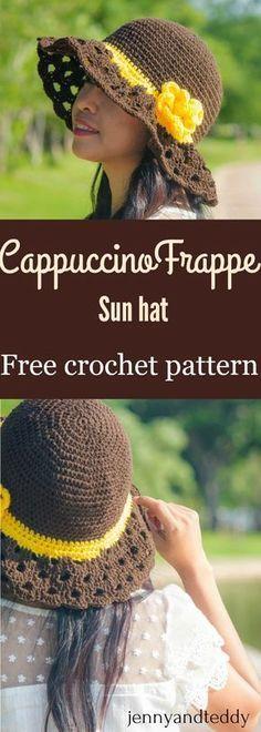 crochet wide brim sun hat free pattern cappuccino frappe by jennyandteddy