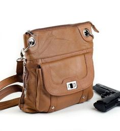 Natural Genuine Leather Turnlock Concealed Purse  #RomaLeathers #MessengerCrossBody