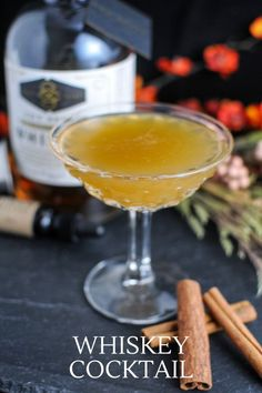This fall tropical cocktail is a tasty one! Whiskey, spiced honey simple syrup, pineapple juice and bitters combine for this tasty drink! #cocktail #pineapple #bitters