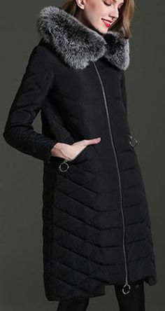 Fox Fur Hooded Feather Puffer Down Coat in Black